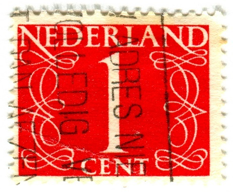 numerical stamp series from the Netherlands  |  designed by Jan van Krimpen (1940-1950s)