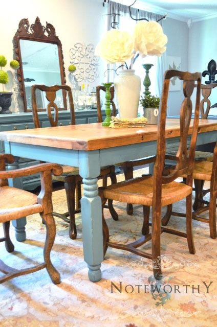 Painted farmhouse table with turned legs in turquoise