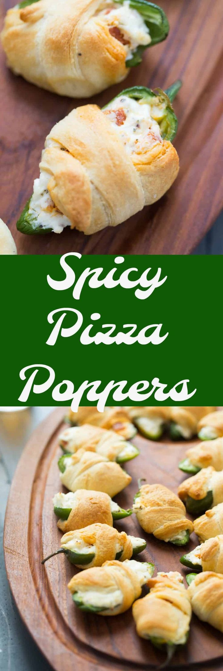 These pizza poppers are a cross between jalapeno poppers and pizza rolls. They are flakey and butter on the outside, but spicy and creamy on the inside! via @Lemonsforlulu