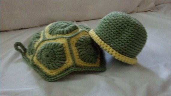 Crocheted Baby Turtle Costume New Born Size by AndrianoCrochet, $20.00