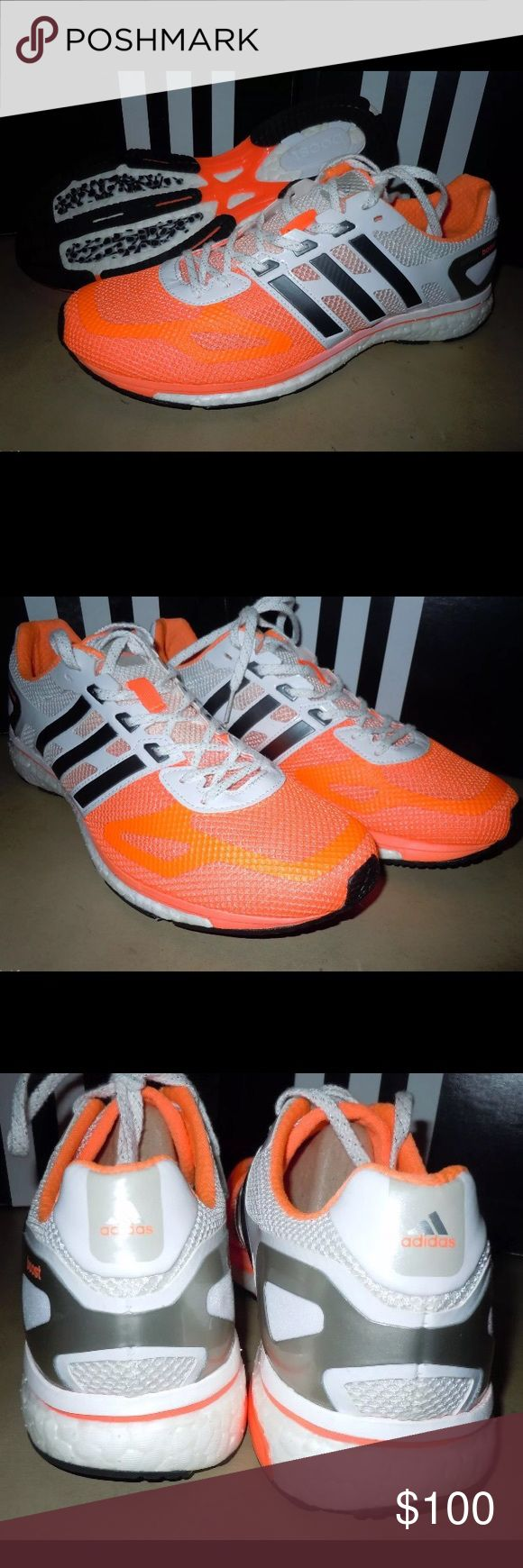 Adidas Adios Boost Shoes Orange White Gray Orange/white/gray women's Adidas Adios Boost in size 9.5. This style runs small and these fit like a 9. These are in excellent condition and were only worn once. ❌Trades/holds❌ I ship within 72 hours of your order. I accept REASONABLE offers. Poshmark rules only. Thank you for 👀! 🚭🐩 Adidas Shoes Sneakers