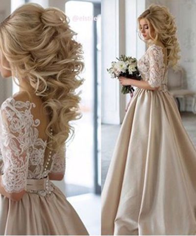 2017 Wedding Dresses, Lace and Satin Wedding Dress, Champagne Wedding Dresses, W…