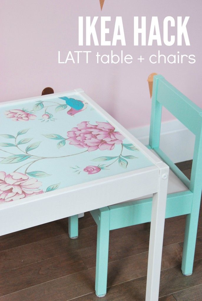 Want to hack the IKEA LATT table and chairs? Here is a great DIY tutorial on how to make it over using white and turquoise piant and some floral wallpaper or wrapping paper. Such a sweet feminine result that would be perfect in a little girl's nursery or kids room! Click over for the full how-to.