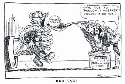 Germany had to accept full responsibility for causing the war. She also had to pay war reparations of a total of 132 billion marks ($385 billion today)