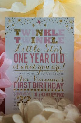 Twinkle, Twinkle Little Star, One Year Old is What You Are pink and gold first birthday party !