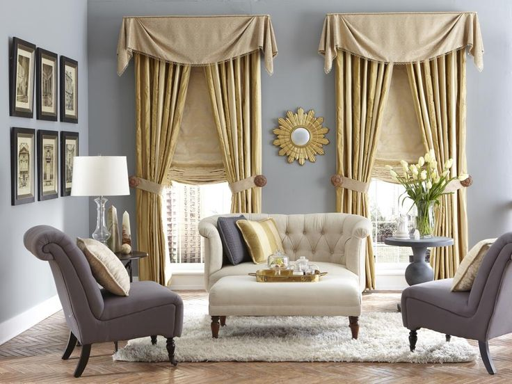 Traditional Valances Layered with Drapes and Roman Shades