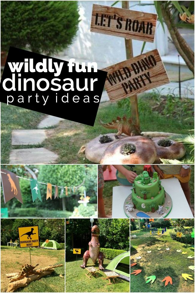 "From ""dinomite"" decorations to a super cool dinosaur birthday cake, this wildly fun dinosaur themed party by Andriana, from wecandoit, has loads of inspiration. The perfect outdoor venue, themed games and take-home favor bags add to the excitement! What's also... #birthdayparty #boys #dinosaur"