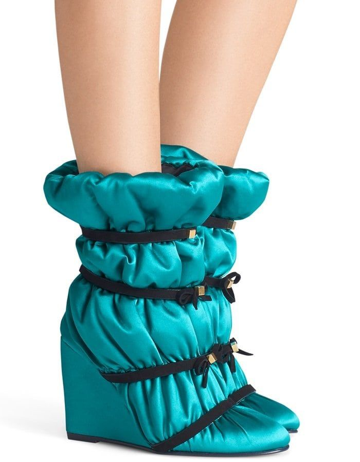 2d8a6e53c5e Oceanic Blue Duvet Studded Leather Wedge Boots   Stuart Weitzman in 2019    Boots, Shoes, Wedge boots