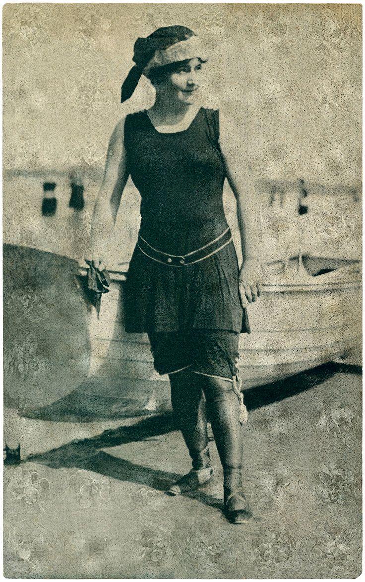 Old Fashioned Swimsuit Lady Image