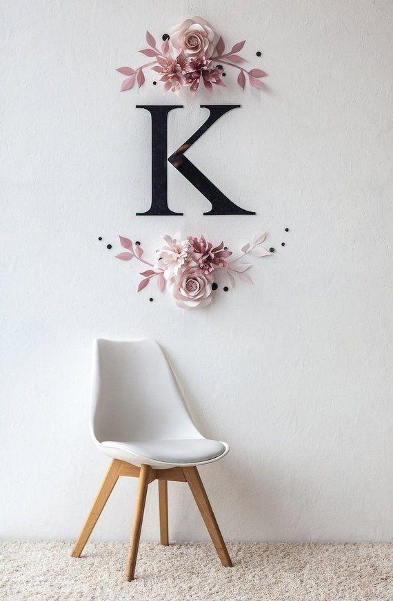 Misty Rose Paper Flower Art – Kinderzimmer Wand Dekor mit Papierblumen – Papier Blumen Wand Dekor