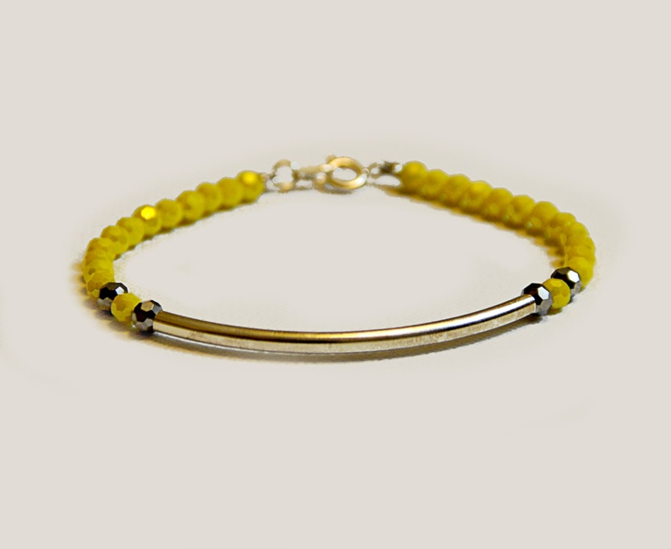 Yellow Beaded Bracelet with Silver Tube by amourose on Etsy, $9.99