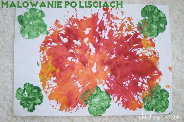 Odbijane liście prace plastyczne dla przedszkolaków na jesień. Painted and reflected leaves artwork for preschoolers in autumn.