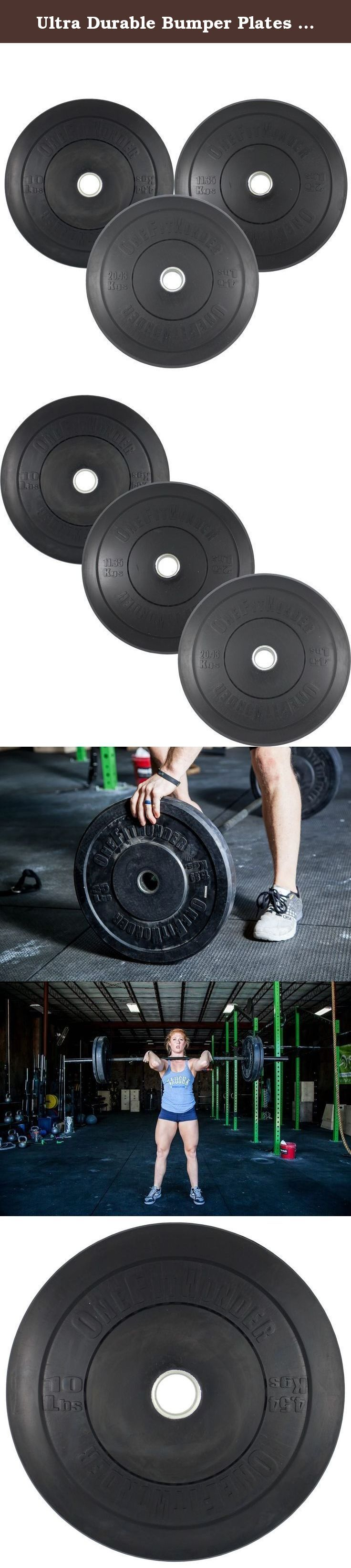 Ultra Durable Bumper Plates Set - Black Virgin Rubber 160 Pound Olympic Solid Weight Plates for Crossfit Training Weight Lifting Gym By Onefitwonder Pair of 10 Lbs,25 Lbs,45 Lbs. WHAT IF YOU HAD BUMPER PLATES WITH NO COMPROMISES? These OneFitWonder bumper plates are well-known for having the lowest price , best durability , best warranty , and best performance available. Start with accuracy . The OneFitWonder bumper plates are accurate to within 10 grams of stated weight. Many other…