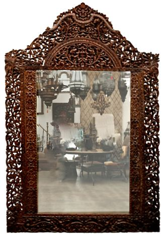 Hand Carved Anglo Indian Mirror British Colonial Style Gypsy Home Decor Mirror