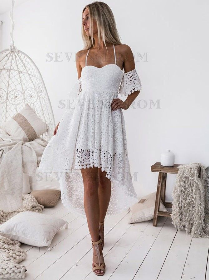 2ebf1ee312a2 Shop the best A-Line Off The Shoulder White Lace High Low Homecoming dress  at Sevenprom.com