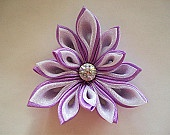 Lilac and White Kanzashi Flower Satin Flower Fabric Flower Hair Clip Bridal Floral Hair Fascinator Icicle Free Shipping to the USA