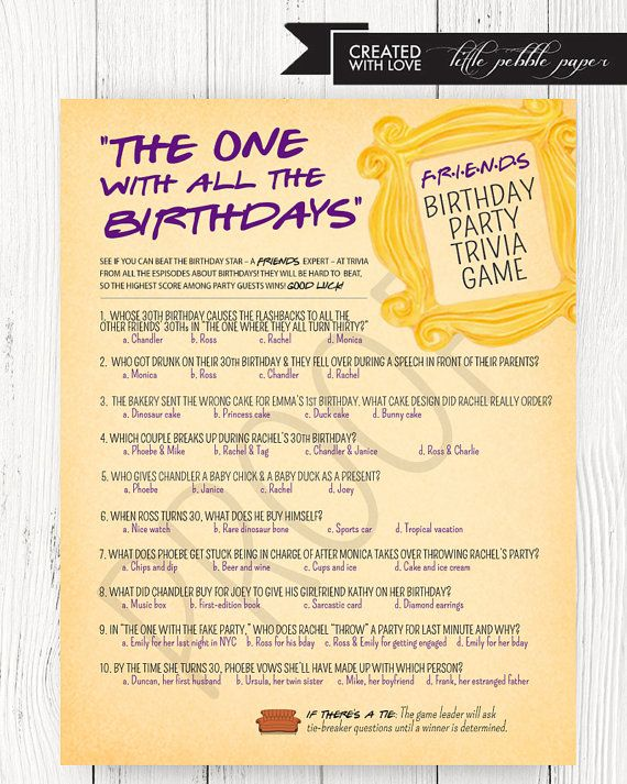 FRIENDS Themed Party Game,- Trivia Game