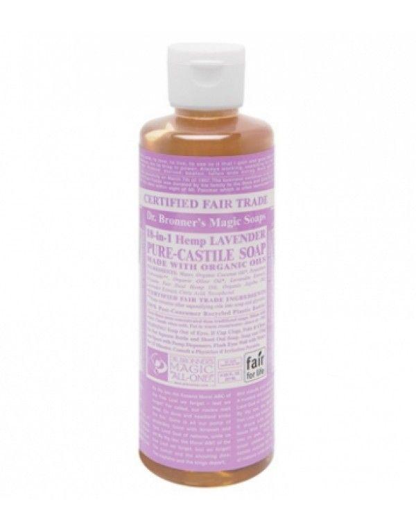 Dr. Bronner's Flytende Såpe Lavender, 236 ml. Duften av lavendel hjelper deg med å stresse ned og den økologiske lavendeloljens betennelsesdempende egenskaper demper hudirritasjoner. Alle oljene og essensielle oljer er økologiske. Av mange regnet som verdens beste såpe. Meget drøy - bruk kun noen få dråper. Basert på Fairtrade-ingredienser.