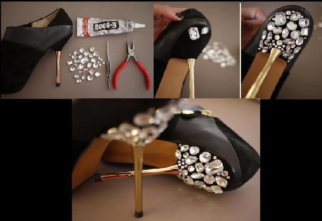 Customização de sapato com pedrarias.