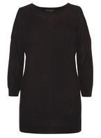 Womens Black Stitch Cold Shoulder Jumper- Black