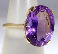 9ct gold Amethyst Solitaire Large Stone Oval  ring, UK size P, new, actual one