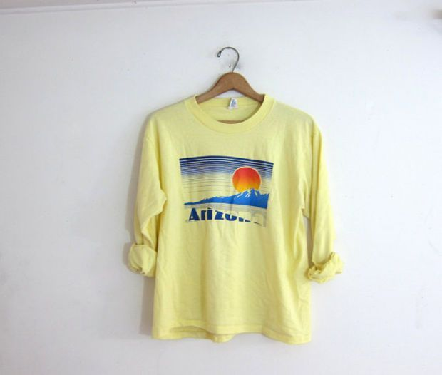 Vintage yellow Arizona tee shirt / long sleeve tshirt with sunset over mountains - olive mens shirt, mens shirts black, mens button down long sleeve shirts *ad