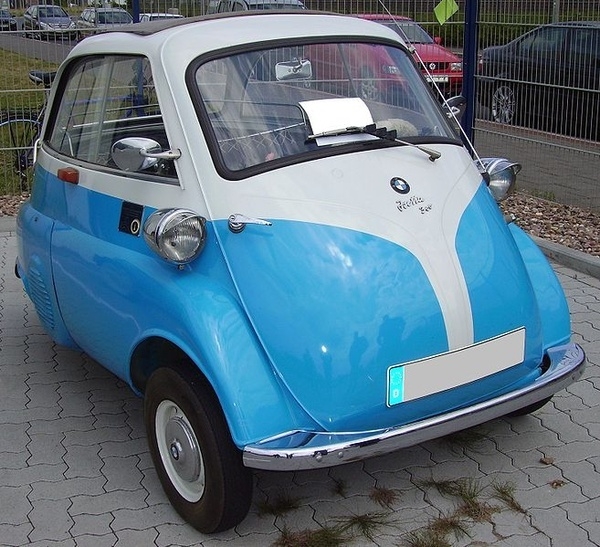 the 1956 BMW Isetta 300, with a 53MPH top speed - I want this car!
