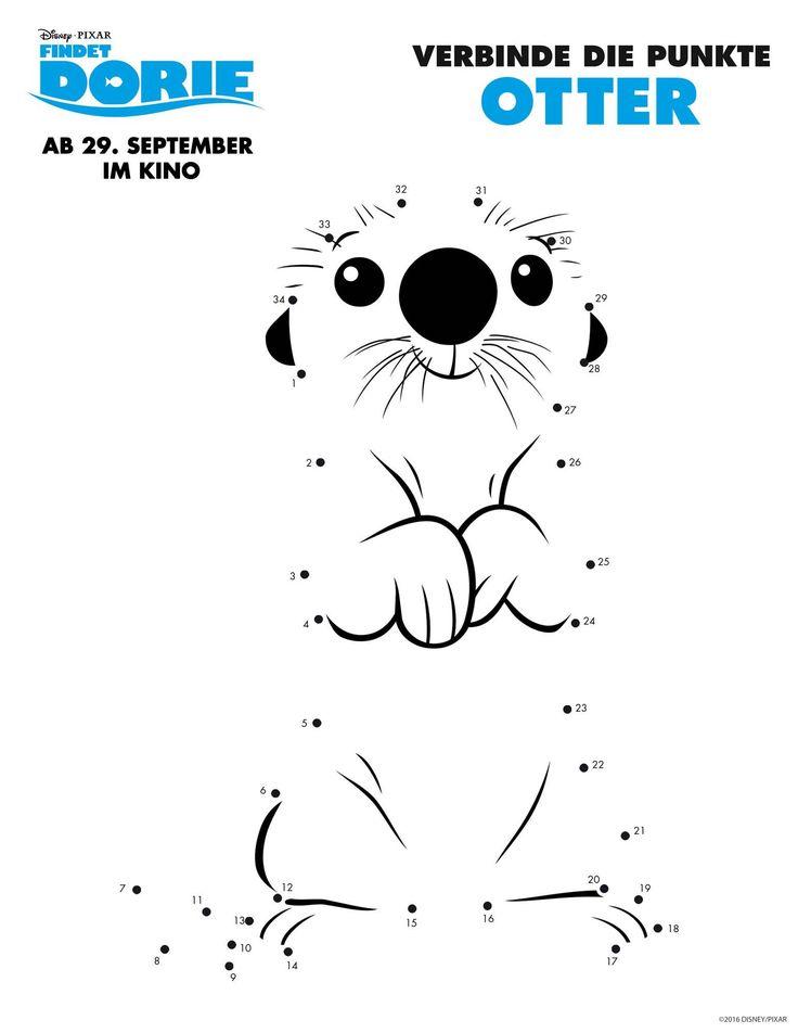 """Hier finden Sie eine Malen-nach-Zahlen-Vorlage zum Disney-Pixar-Film """"Findet Dorie"""". Drucken Sie das Bild aus und lassen Ihr Kind die Punkte verbinden, damit Otter zum Vorschein kommt."""