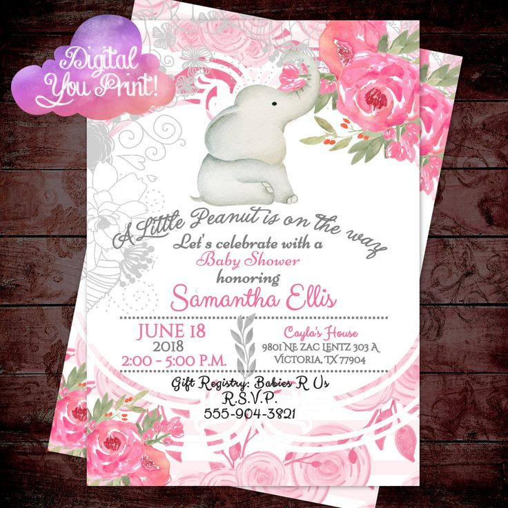 jungle theme baby shower invitation sayings%0A Elephant Baby Shower Invitation  Rustic Baby Shower Invitation  Girl Baby  Shower invitation  Pink