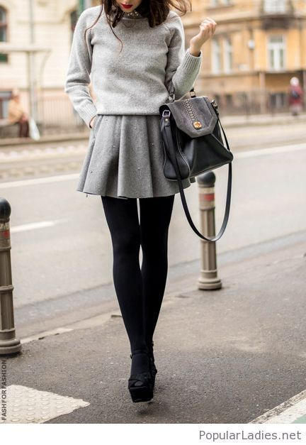 grey-blouse-and-skirt-with-black-leggings
