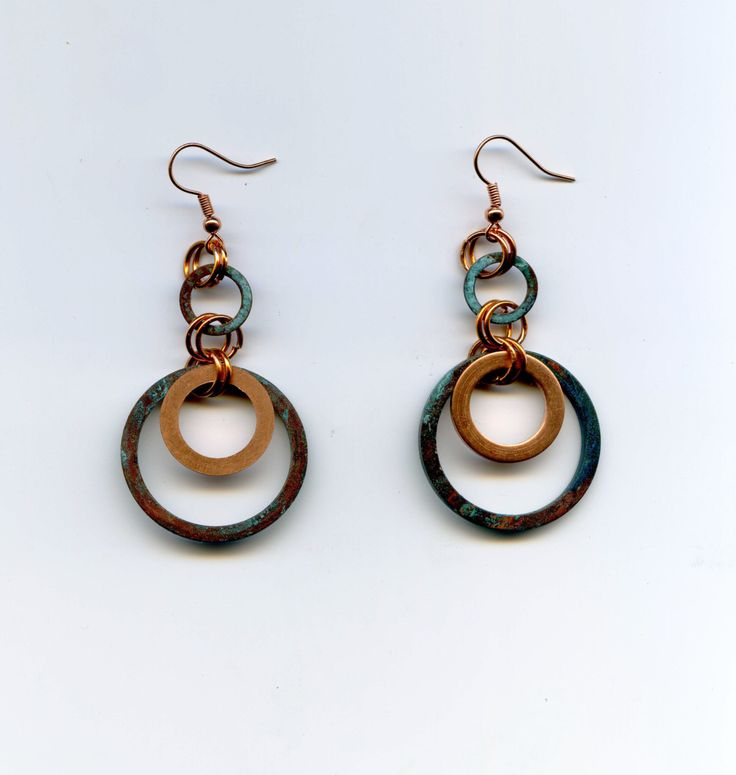 Geometrik earrings - Circle earrings - Patina Copper Earrings - Turquoise Patina Finish - Hypoallergenic Earrings handmade copper jewelry by Lunaticonstuff on Etsy