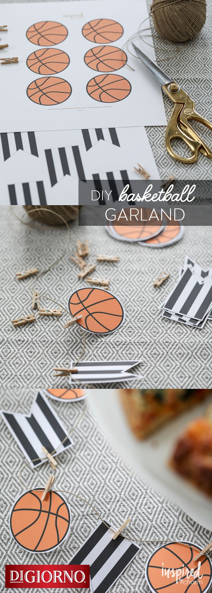 Check out this fun basketball garland from our partner, @inspiredbycharm  – perfect for decorating your next watch party! Supplies: DIGIORNO Original RISING CRUST pizza, basketball & referee pendant printables, scissors, twine, mini clothespins. 1. Print/cut printables. 2. Cut basketball & referee pendants. 3. Attach to twine using clothespins. 3. Bake DIGIORNO Original RISING CRUST pizza for about 20 mins. 4. Use for hanging or table décor. 5. Serve pizza & enjoy!