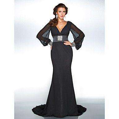 Formal Evening/Military Ball Dress Trumpet/Mermaid V-neck Sweep/Brush Train Chiffon Dress – USD $ 89.99