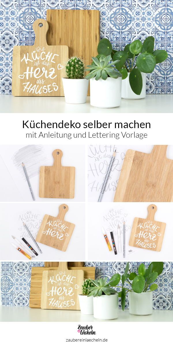 Küchendeko selber machen: Weißes Lettering auf Holzbrett ...