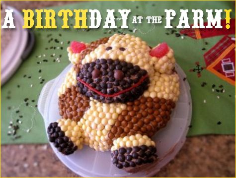 A whole blog page about a great farm themed birthday party: cakes, decorations, invite, menu, favors, etc.