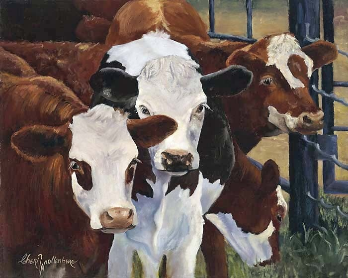 Some day I'll own one ofthese giclees. Canvas Cow Painting Reproduction of Cow in Natural Colors Giclee by Cheri wollenberg. $195.00, via Etsy.