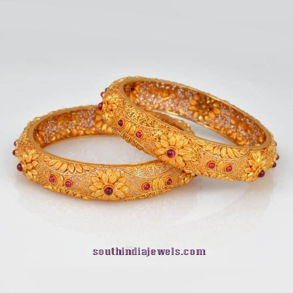 Gold Floral Ruby Bangle model