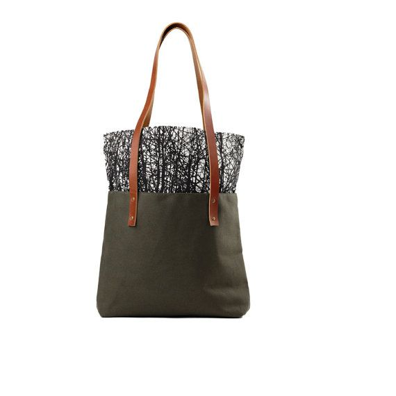 Printed Snap Top Tote Bag, Canvas tote/ Black and White Tote/ Large Canvas Tote/ Green Bag/ Color Block Purse/ Brown Leather Bag/ Tree Print