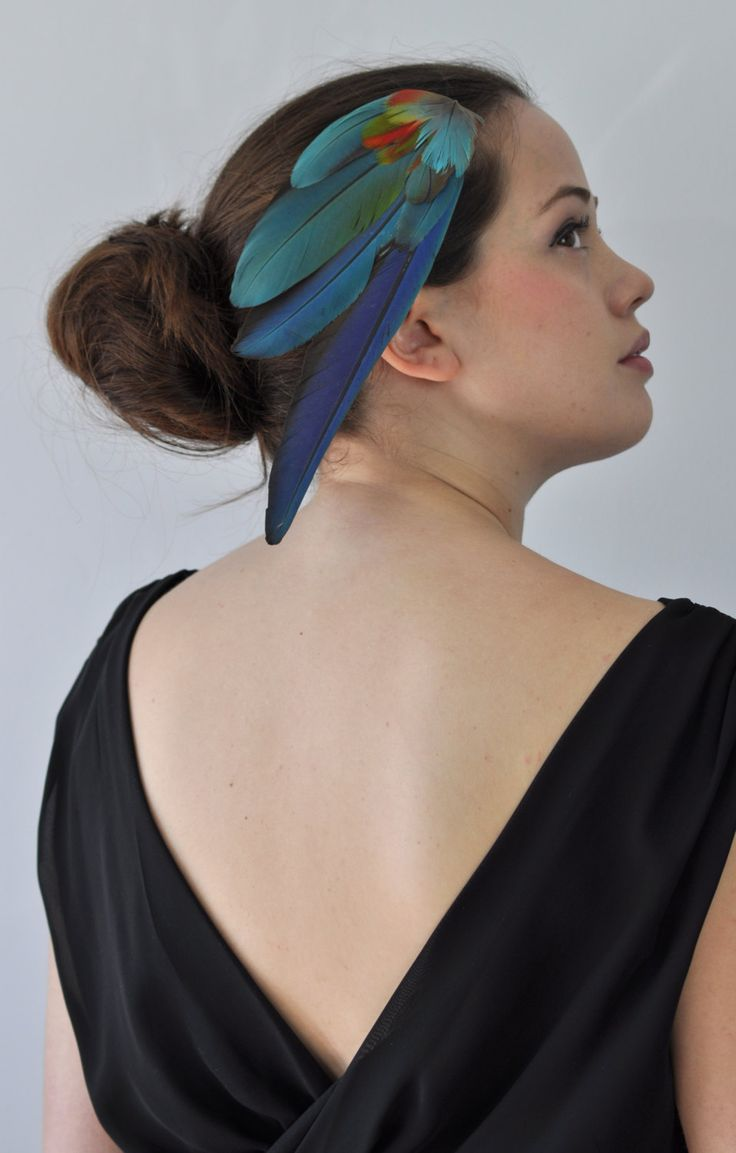 Tropical Feather Fascinator Hair Clip in Vibrant Blue Macaw Parrot Feathers by MissFloraG on Etsy