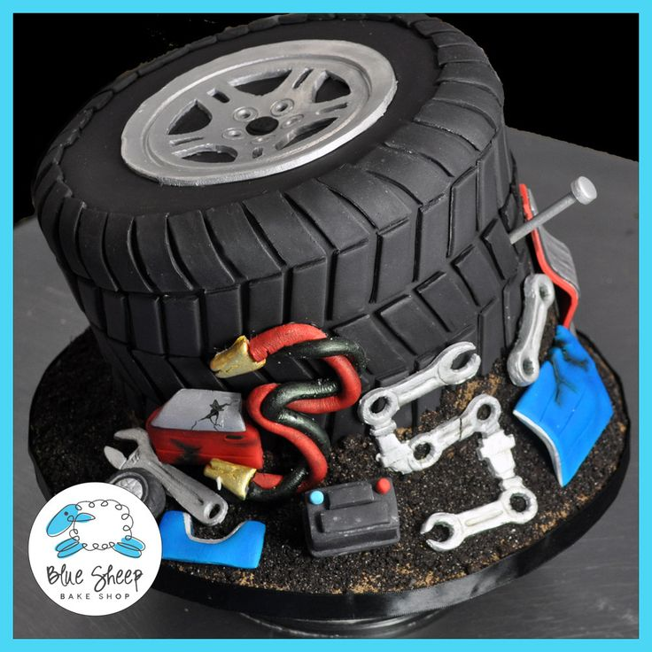 Junkyard Tire 35th Birthday Cake - Custom Birthday Cakes NJ – Blue Sheep Bake Shop