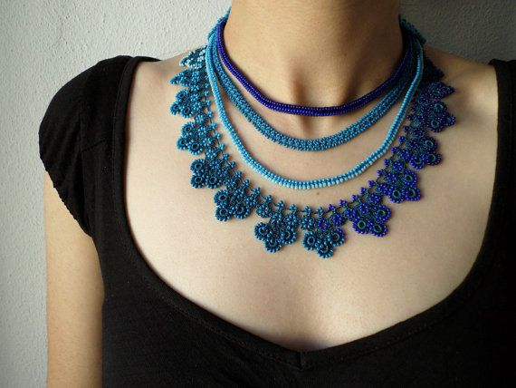 Blue beaded crochet necklace with beaded lace, crocheted chains, floral edging and glass seed beads in sapphire blue, cobalt blue, royal