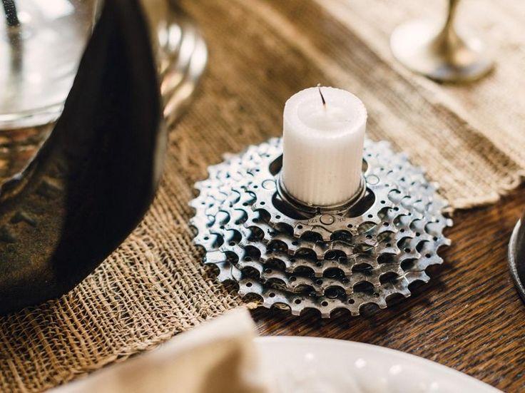 idées créatives pour réutiliser les pièces détachées de vélo- poirte-bougies en chaîne