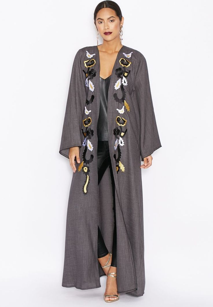 Shop Hayas closet grey Embroidered Front Abaya for Women in UAE