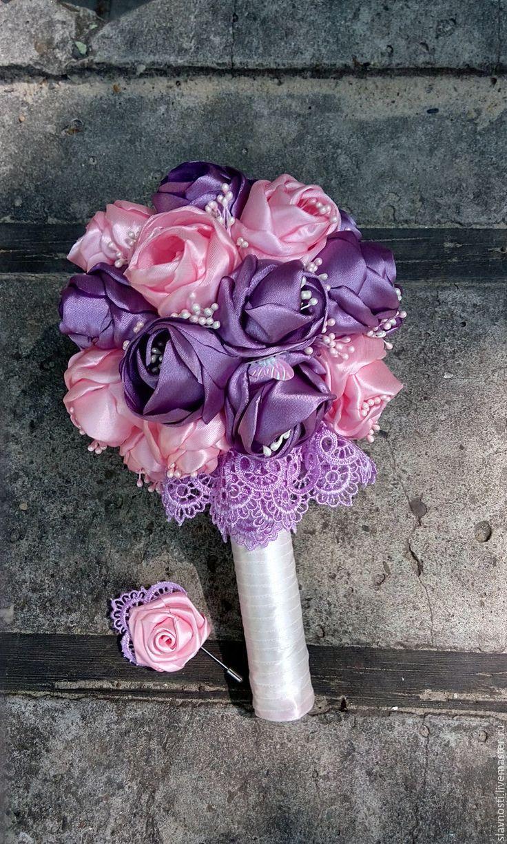 Wedding bouquet with silk flowers / Купить Букет невесты из атласных лент - розовый, лиловая свадьба, атласная лента, букет невесты