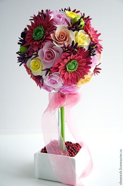Купить Топиарий - розовый, топиарий, Дерево счастья, европейское дерево, интерьер, розы, герберы, яблоко