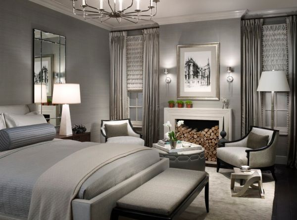 Color scheme of the bedroom achieves balance between energy and harmony Oh, my goodness, I love this gray room!  Who knew?