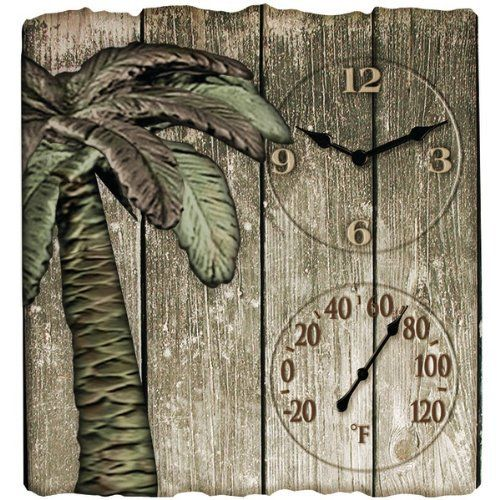 "14""X12.5"" Palm Tree Outdoor Clock and Thermometer - Leaders Casual Furniture"