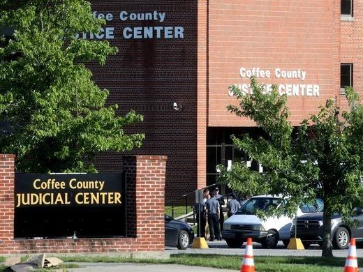Private Officer Breaking News: Coffee County TN prisoner shoots 2 deputies-escapes and commits suicide (Manchester TN June 20 2017) MICHAEL EUGENE BELL, 37, shot and wounded two deputies, Wade Bassett, 71, and Wendell Bowen, 56, in a bid to escape from the courthouse. He fled the courthouse and shot himself in the head a short time later.