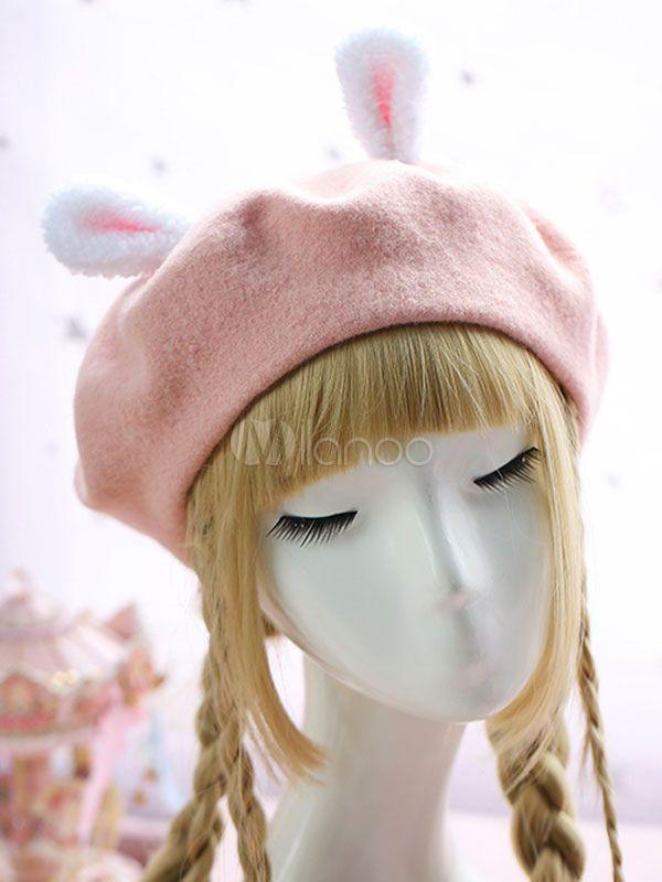 b9961dd5d125d Sweet Lolita Hat Wool Pom Pom Bunny Ear Lolita Beret  Hat