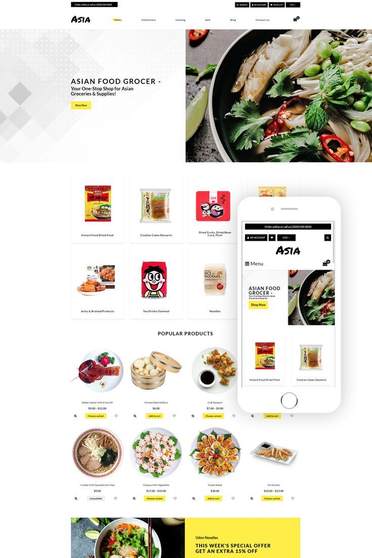 Asia Asian Food Online Store Clean Shopify Theme Affiliate Food Online As Ecommerce Start Your Online Online Food Asian Recipes Food Delivery Business